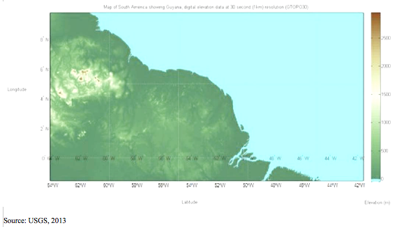 GTOPO30 Enhanced Digital Elevation Model of Guyana, South America (1km resolution), global education magazine
