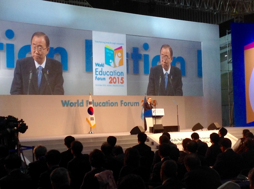 UN secretary Ban Ki-moon, world education forum 2015