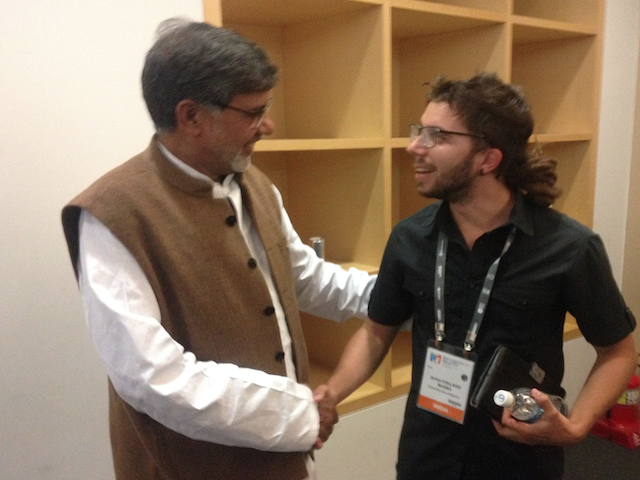 Javier Collado Ruano along Kailash Satyarthi, 2014 Nobel Peace Prize, world education forum