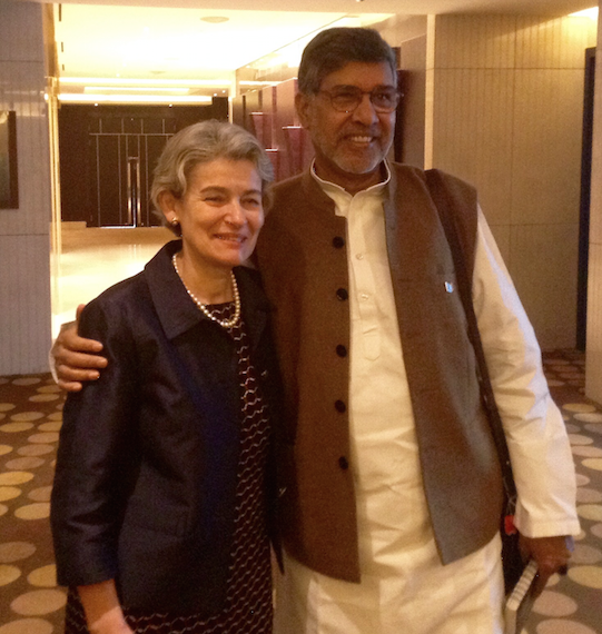 UNESCO Director-General Irina Bokova along Kailash Satyarthi, 2014 Nobel Peace Prize