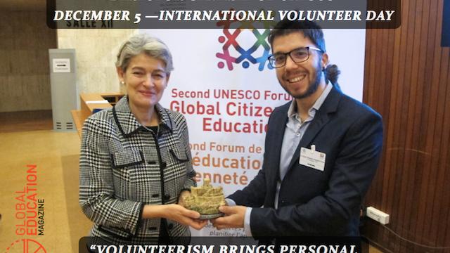 irina bokova, unesco director general, javier collado ruano, global citizenship education, volunteer