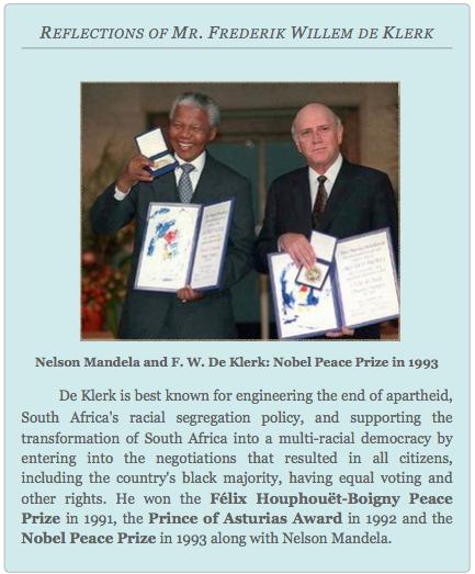 REFLECTIONS OF MR. FREDERIK WILLEM DE KLERK, Global Education Magazine