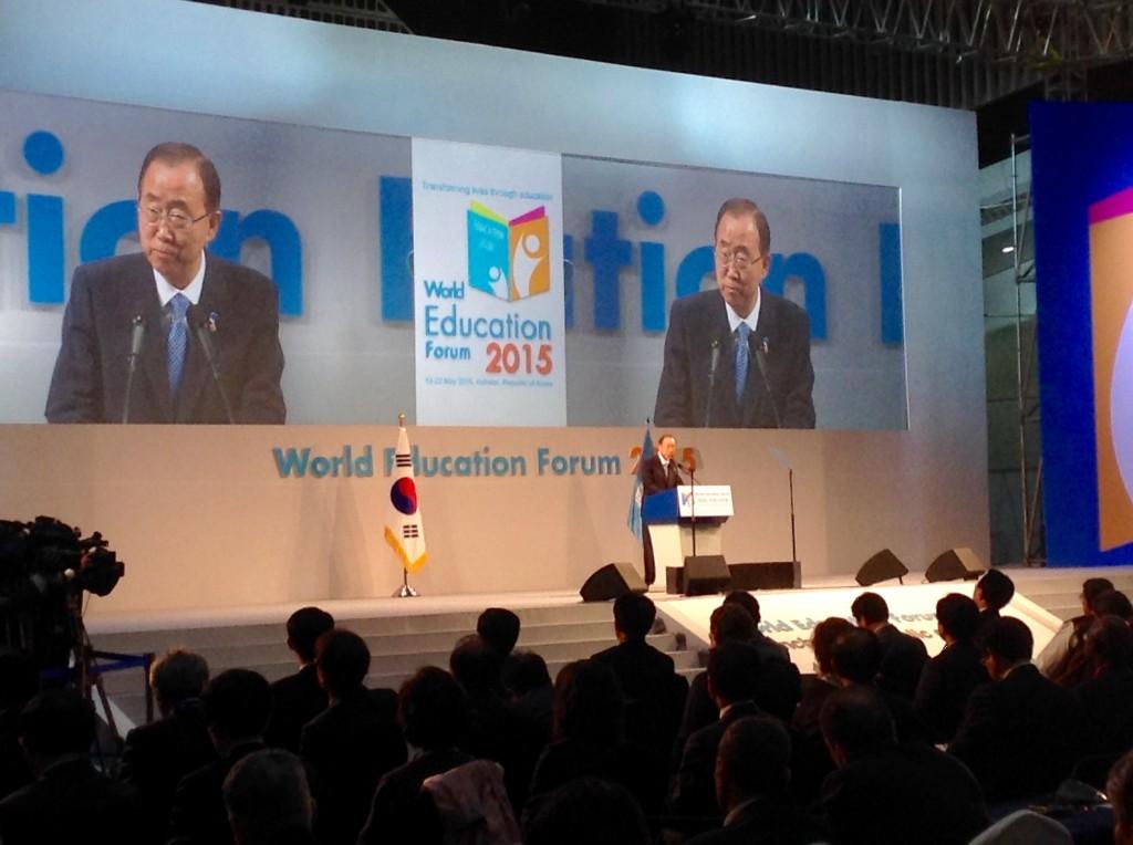 UN secretary Ban Ki-moon, world education forum 2015